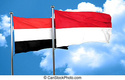 Yemen flag with Indonesia flag, 3D rendering