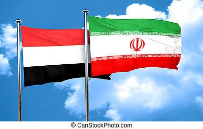 Yemen flag with Iran flag, 3D rendering