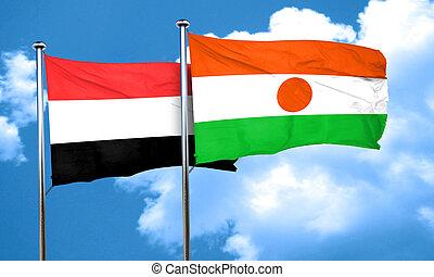 Yemen flag with Niger flag, 3D rendering