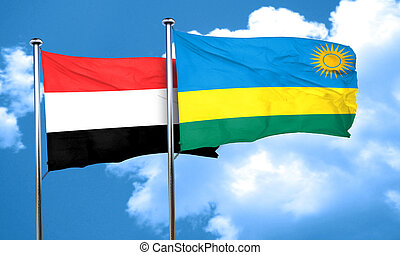 Yemen flag with rwanda flag, 3D rendering