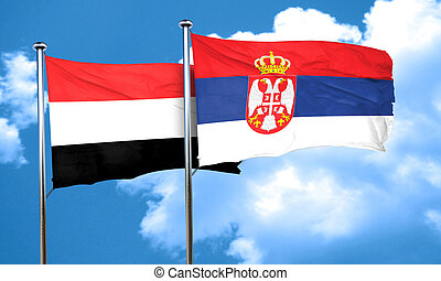 Yemen flag with Serbia flag, 3D rendering