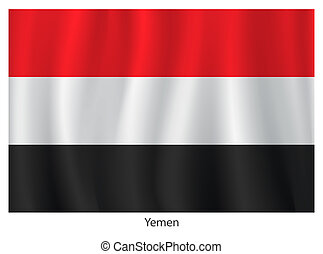 Yemen flag with title on the white background, vector illustration