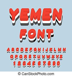 Yemen font. Yemeni flag on letters. National Patriotic alphabet. 3d letter. State color symbolism state in Southwest Asia
