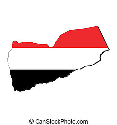 Yemen map flag - map of Yemen and their flag illustration