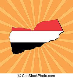 Yemen map flag on sunburst
