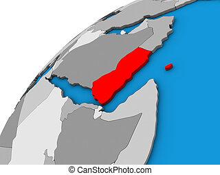 Yemen on 3D globe