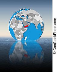 Yemen on globe in water
