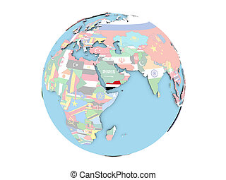 Yemen on globe isolated