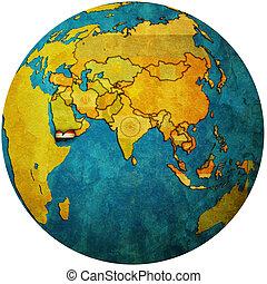 yemen on globe map - isolated over white territory of yemen ...