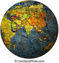 yemen on globe map
