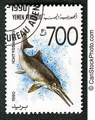 YEMEN REPUBLIC - CIRCA 1990: A stamp printed in Yemen shows...