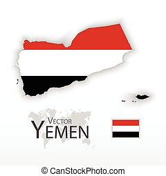 Yemen ( Republic of Yemen ) ( flag and map ) ( transportation and tourism concept )