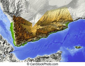 Yemen, shaded relief map - Yemen. Shaded relief map. ...