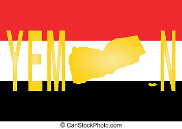 Yemen text with map on flag illustration