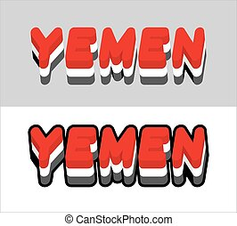 Yemen typography. Text of Yemeni flag. Emblem of the state in Southwest Asia on white background. letters tricolor