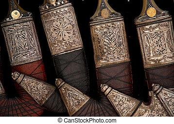 yemeni daggers in sanaa marketplace souk in yemen