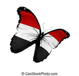 Yemeni flag butterfly flying, isolated on white background