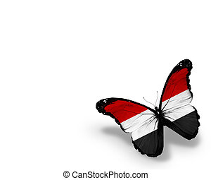 Yemeni flag butterfly, isolated on white background