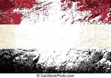 Yemeni flag Grunge background. Vector illustration Eps 8.