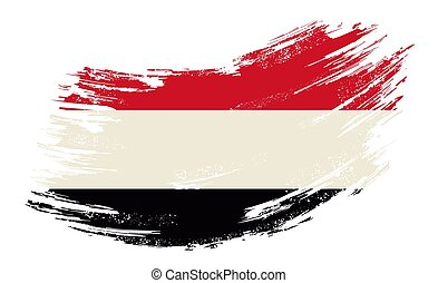 Yemeni flag grunge brush background. Vector illustration. - ...