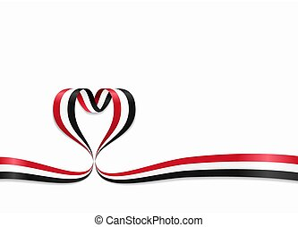 Yemeni flag heart-shaped ribbon. Vector illustration. - ...