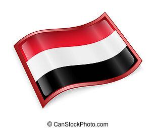 Yemeni flag icon. - Yemeni flag icon, isolated on white ...
