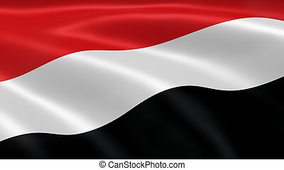 Yemeni flag in the wind. Part of a series.