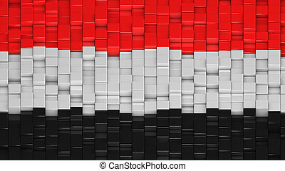 Yemeni flag made of cubes in a random pattern. 3D computer ...