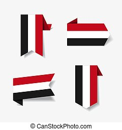 Yemeni flag stickers and labels. Vector illustration. - ...