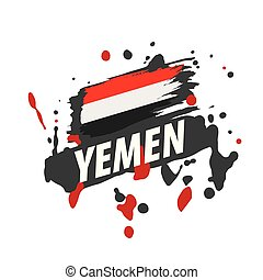 Yemeni flag, vector illustration on a white background. - ...