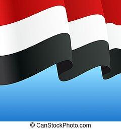 Yemeni flag wavy abstract background. Vector illustration...