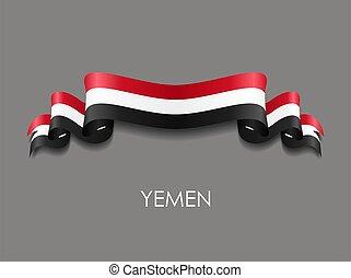 Yemeni flag wavy ribbon background. Vector illustration. - ...