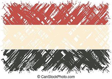 Yemeni grunge flag. Vector illustration. Grunge effect can ...