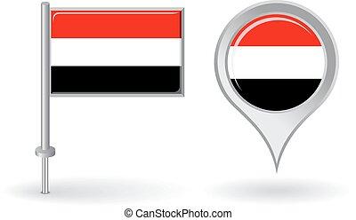 Yemeni pin icon and map pointer flag. Vector illustration.
