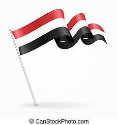Yemeni pin wavy flag. Vector illustration. - Yemeni pin icon...