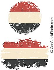 Yemeni round and square grunge flags. Grunge effect can be ...