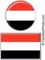 Yemeni round and square icon flag. Vector illustration. - ...