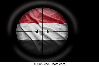 Yemeni target - Sniper scope aimed at the Yemeni flag