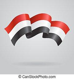 Yemeni waving Flag. Vector illustration Eps 8.