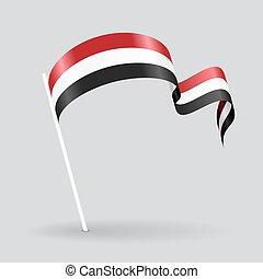 Yemeni wavy flag. Vector illustration. - Yemeni pin icon ...