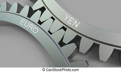YEN and EURO words on meshing gears. Forex conceptual animation