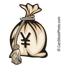 yen, argent, illu, signe, sac, vecteur