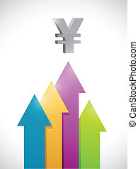yen arrows moving up business graph. illustration