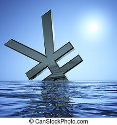 yen, beklemd gevoel, in, de, zee, het tonen, depressie,...