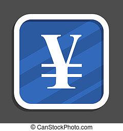 Yen blue flat design square web icon