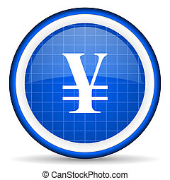 yen blue glossy icon on white background