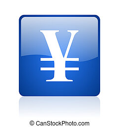 yen blue square glossy web icon on white background