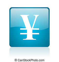 yen blue square web glossy icon