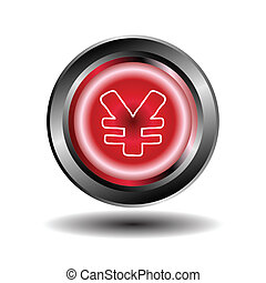 Yen button red glossy web icon vect