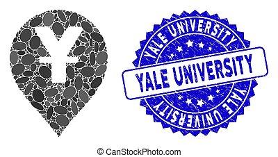 yen, carte, yale, cachet, marqueur, mosaïque, gratté, icône, université